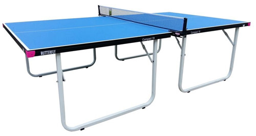 The Butterfly Compact pin pong table has a 19mm playing surface
