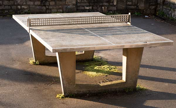 A concrete table tennis table