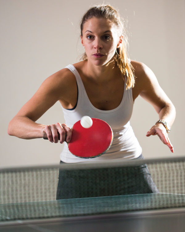 Nice woman playing pingpong